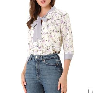 Allegra K Bow Tie Neck 3/4 Sleeve Floral Blouse